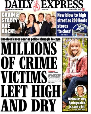 Wednesday's Daily Express front page