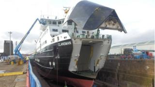 MV Clansman pictured in February at Garvel dry dock for annual maintenance