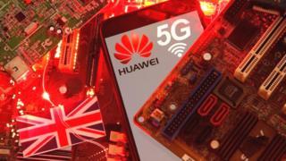 Huawei and UK flag