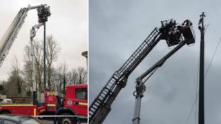 Rescue of cherry picker workers