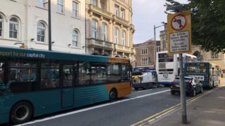Cardiff city centre - Westgate Street/Wood Street junction