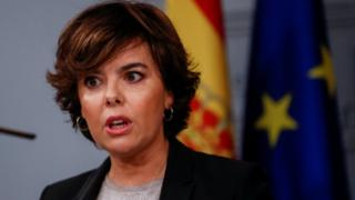 Spain's deputy prime minister Soraya Saenz de Santamaria speaks during a news conference at the Moncloa Palace in Madrid, Spain, 16 October 2017