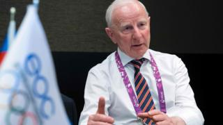 Patrick Hickey speaking during an interview at the 2015 European Games in Baku