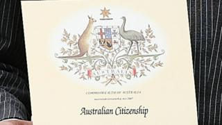 Sertifikat kewarganegaraan Australia.