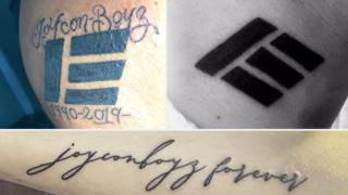 Three tattoos in one image. One reads 'joyconboyz forever'. The other two show Etika's logo.