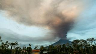 The Mount Agung volcano spews hot volcanic ash