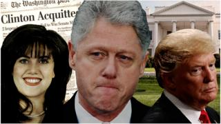 A collage of Monica Lewinsky, Bill Clinton and Donald Trump