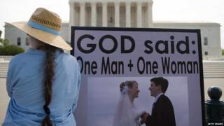 """Protester in front of US Supreme Court with placard reading: """"God said: One Man + One Woman"""""""