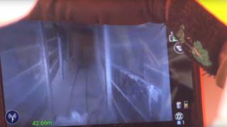 Screen grab of video released by Israel Defense Forces showing tunnel from Gaza discovered inside Israeli territory (18 April 2016)