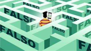 Ilustração de rapaz em labirinto de notícias falsas
