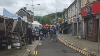 Ebbw Vale town centre on market day