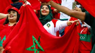 Morocco fans inside the stadium before the match, Kaliningrad, Russia - Monday 25 June 2018