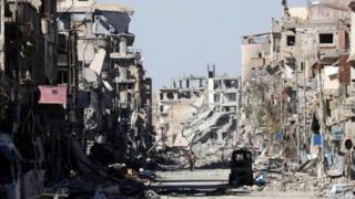 Área destruida de Raqqa