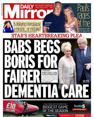 Front page of the Daily Mirror