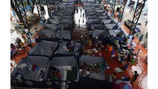Эвакуационный центр в городе Марикина.