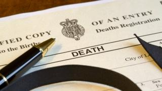 Death certificate and pen