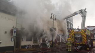 Major fire at Cycle King on Angel Hill in Bury St Edmunds.