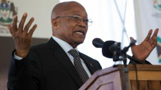 South African President Jacob Zuma speaks at a memorial lecture after unveiling a statue of struggle veteran Harry Gwala in Pietermaritzburg, South Africa, on 6 August, 2017.