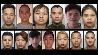Police images of 13 Vietnamese immigrants who have disappeared