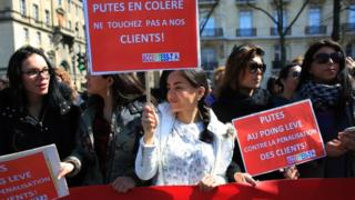 Protesting sex workers in Paris, France - 6 April 2016