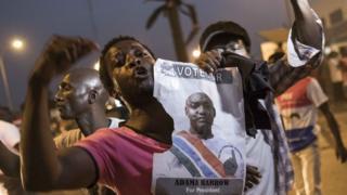 Kusherehekea Adama Barrow mjini Banjul, 19 Januari 2017