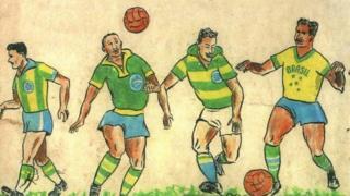 Las ilustraciones originales de García Schlee, de la camiseta brasileña