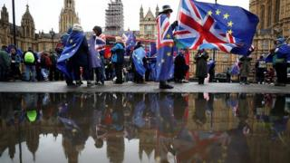 Brexit campaigners outside Parliament
