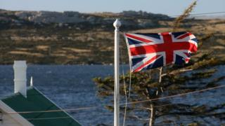 The Union flag flying in the Falkland Islands