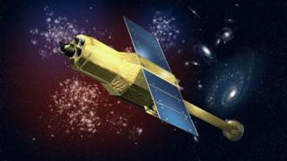 An undated artist's rendering made available by the Japan Aerospace Exploration Agency (JAXA) on 28 March 2016 shows the Japanese Astro-H satellite that was launched on 17 February 2016 to observe black holes and galaxy clusters.