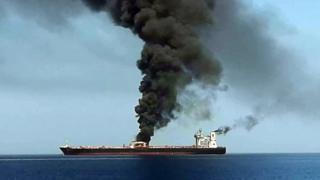 Один из танкеров, предположительно атакованный у берегов Омана