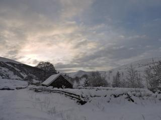 Snow covered home on Dumfries and Galloway border