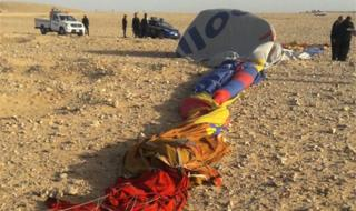 The remains of a hot air balloon near the ancient Egyptian city of Luxor, 5 January 2018