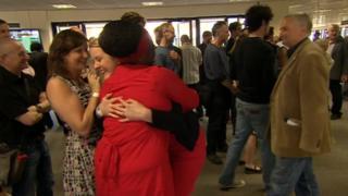Labour candidates hug