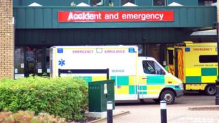 An ambulance parked outside the accident and emergency department at the Antrim Area Hospital