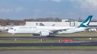 Cathay Pacific Airbus A350-900 aircraft as seen departing from Brussels National Airport.