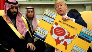 محمد بن سلمان، ولیعهد سعودی کنار دونالد ترامپ، رئیسجمهور آمریکا، در سفر اخیر او به واشنگتن