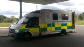 Ambulance outside A&E department