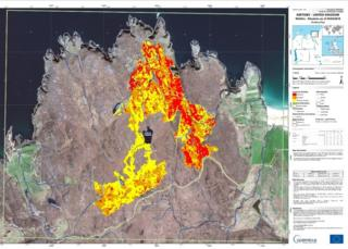 A satellite images show wildfires in north Sutherland