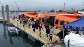 Passengers on cruise ship tender