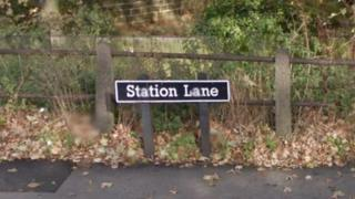 Street sign for Station Lane in Pontefract