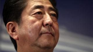 Close up shot of Shinzo Abe at a press conference at party headquarters on October 23 after winning election