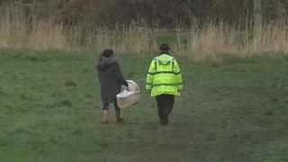 A cot was seen being taken to the area where Pearl was discovered in Heywood