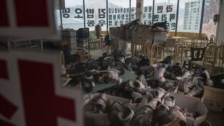 Түштүк Кореядагы ташталып калган лыжа базасы.