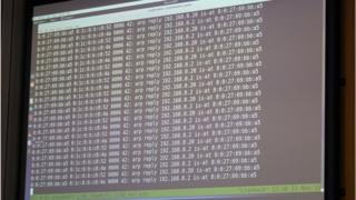 A digital screen displays a live cyber-hack attack during a press conference at the Federal Criminal Police Office (BKA) in Wiesbaden, Germany, 11 November 2019