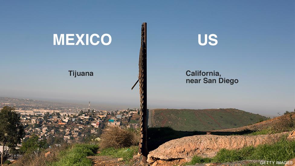 Hình ảnh hàng rào biên giới hiện tại giữa Mỹ và Mexico
