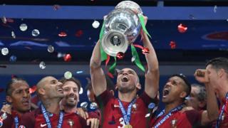 Portugal celebrate their Euro 2016 win