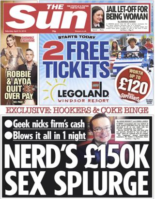 Sun front page, 13/4/19