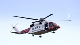 Five coastguard rescue teams and two rescue helicopters have been involved in the search
