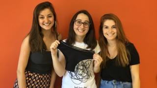 As estudantes Raíssa Kist, Nicole Zagonel e Francieli Bittencourt