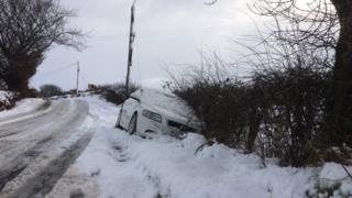 Car in ditch near Ballyclare